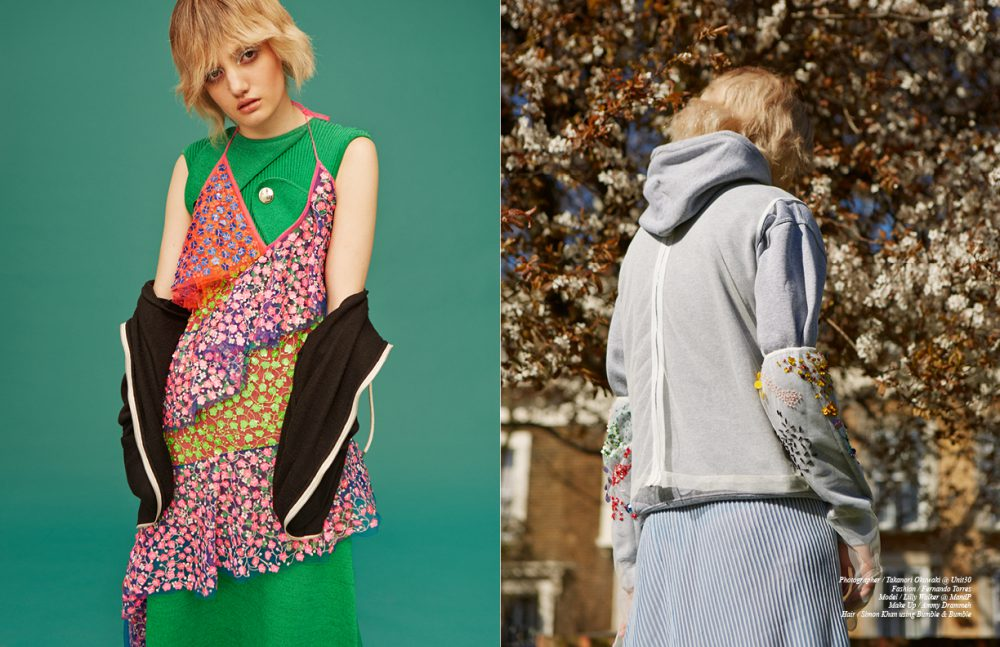 Green Dress / Back Slip Dress / Fyodor Golan Hoodie / Adidas Opposite Hoodie / Nike Gloves & Mesh Top / Ashish Dress / Dagmar