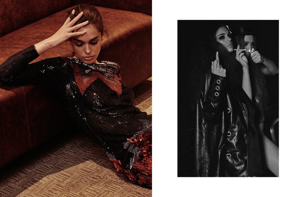 Sequin Dress / Elisabetta Franchi Opposite ForegLeather Coat & Satin Dress / Chanel [Background model] T-Shirt Victoria Beckham Lingerie & Top Hat / Stylist's Own