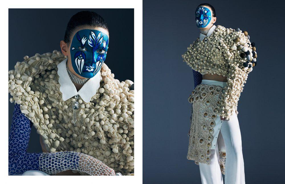 Shirt / Max & Co Socks / Penti Pants / Jonathan Simkhai Top & skirt / Stylist's archive Choker, diamond gloves & rings / Made by Stylist's Studio