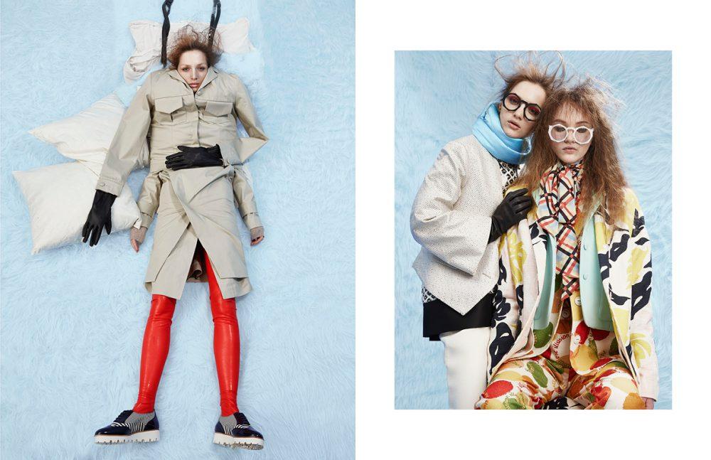 Jacket & Skirt / Harmony Latex / Tres Bonjour at misencage.com Shoes / Pretty Ballerinas Fur / ONAR ONAR Opposite Left wears Jacket / Vivienne Westwood Dress / Deux A Skirt / Harmony Eyewear / PAWAKA Colar / DONIA ALLEGUE Right wears Coat / Cédric Charlier Jacket / John Galliano Suit / Sonia Delaunay Paris Shirt / Pascal Millet Eyewear / PAWAKA