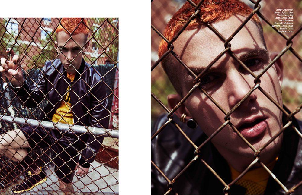 Jacket / Paul Smith Jersey / Stylist's Own  Shorts / Nasty Pig  Earrings & socks / Stylist Studio  Shoes / Burberry  Ear cuff / My Enemy Bracelet / Aldo