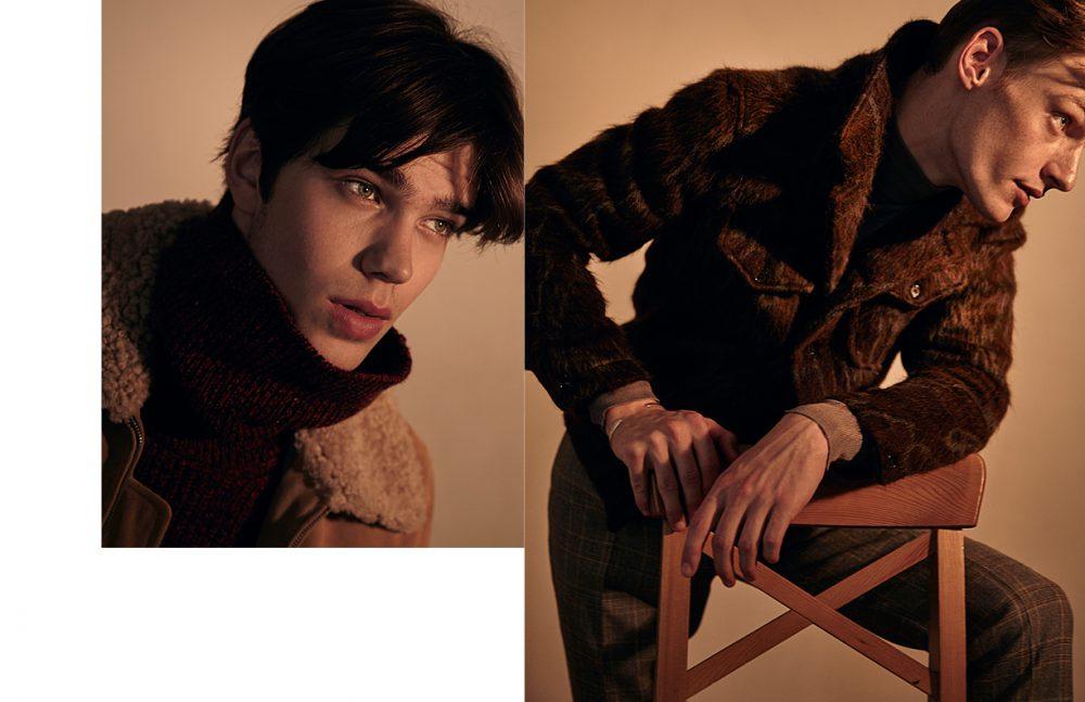 Sam wears Jacket / A.P.C. x Louis W. Sweater / A.P.C. Opposite Roberto wears Jacket & trousers / Billy Reid