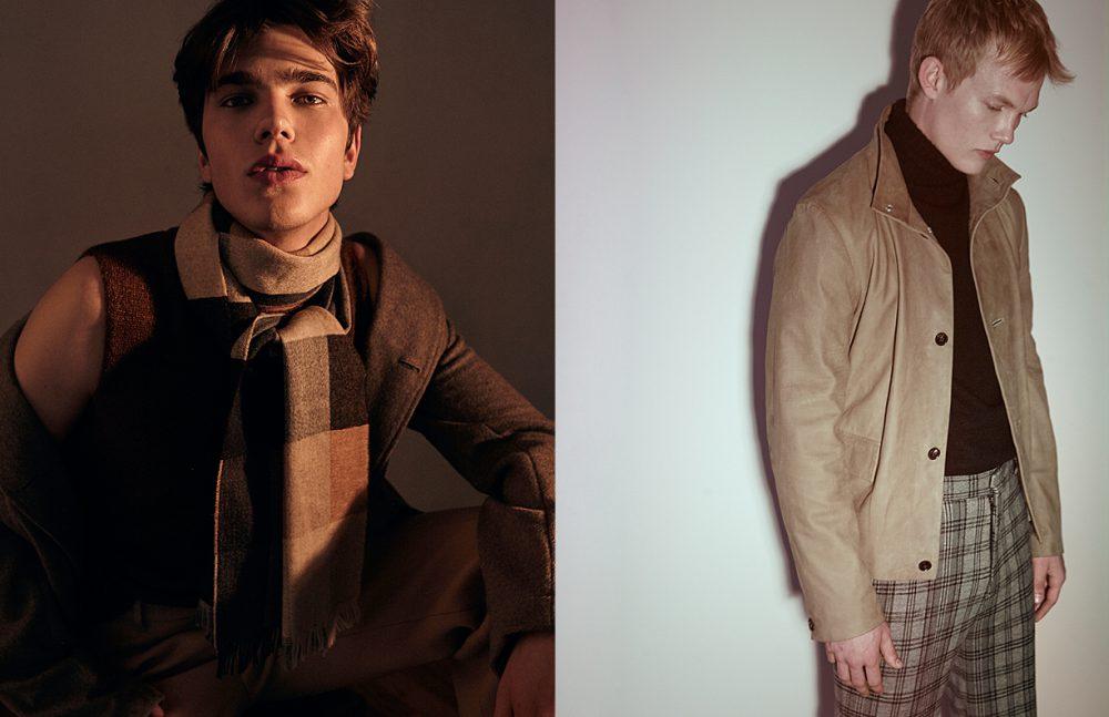 Sam wears Jacket / Billy Reid Sweater, vest & scarf / Oliver Spencer Trousers / Garcia Velez Opposite Alijah wears Jacket / Billy Reid Sweater / Deveaux Pants / Garcia Velez