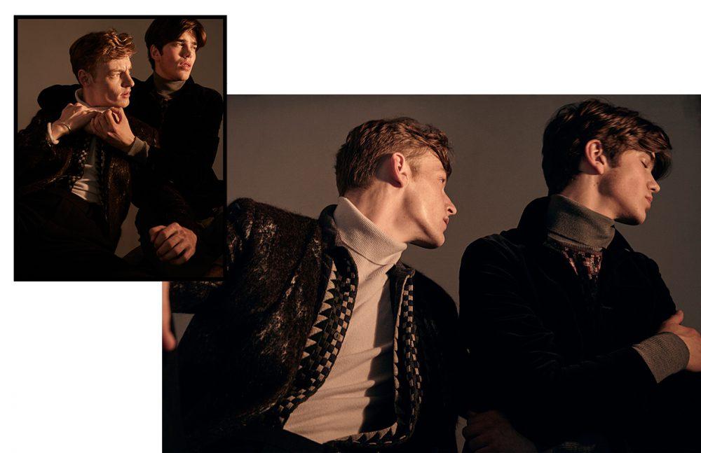 From left to right Roberto wears Blazer / Siki Im Shirt / Rochambeau Turtleneck & pants / Billy Reid Sam wears Jacket & shirt / Oliver Spencer Turtleneck / Robert Geller