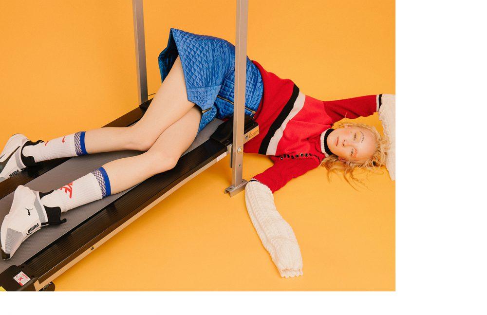 Jumper / Quinlan Lin Skirt / Kitty Joseph Mesh socks / Wolford Socks / Nike Trainers / Puma