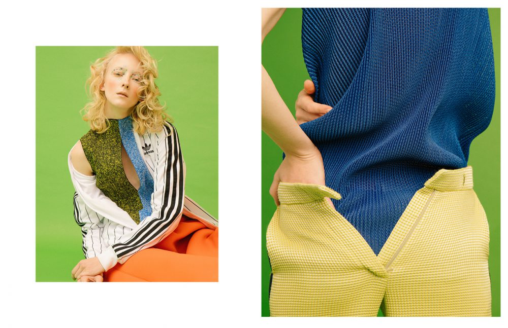 Jacket / Adidas Top / Kitty Joseph Skirt / Sydney Davies Opposite Top / Kitty Joseph Trousers / Victor Xenia