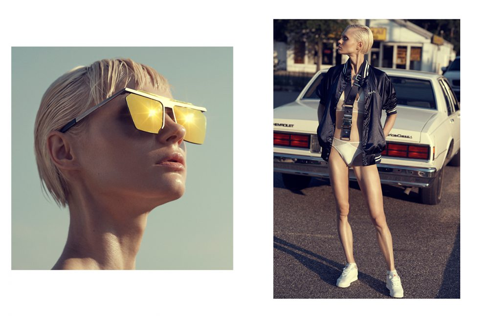 Eyewear / Gentle Monster Opposite Jacket / Redwolf Swimwear / Toxic Sadie Harness / Bond Hardware Shoes / Reebok
