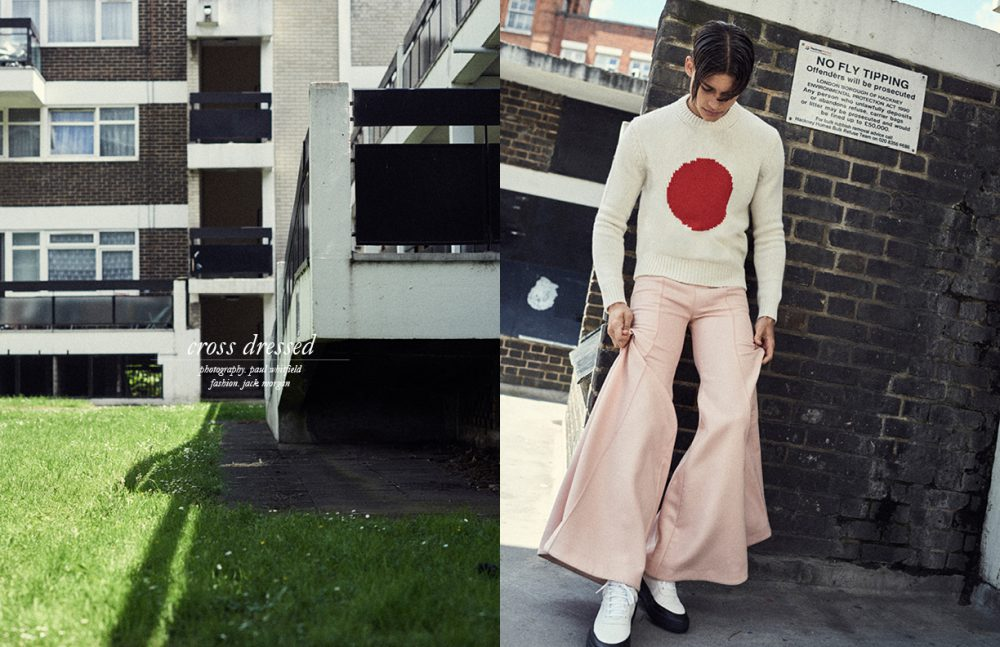Flare Trousers (Womenswear) / Xiao Li Jumper (Menswear) / Maisonette Kitsuné Trainers (Menswear) / Filling Pieces