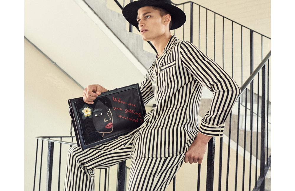 Pyjama Suit (Womenswear) / Olivia Von Halle Hat (Menswear) / Tourne de Transmission Bag (Womenswear) / Loriblu Necklace / Model's Own
