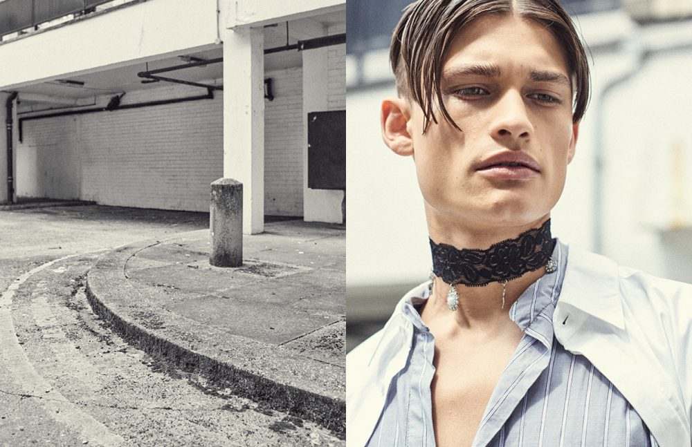 Shirt with Black Ribbon Cuffs (Womenswear) / Fun Affair Stripped Shirt (Menswear) / Carrier Company Charm Choker / ASOS