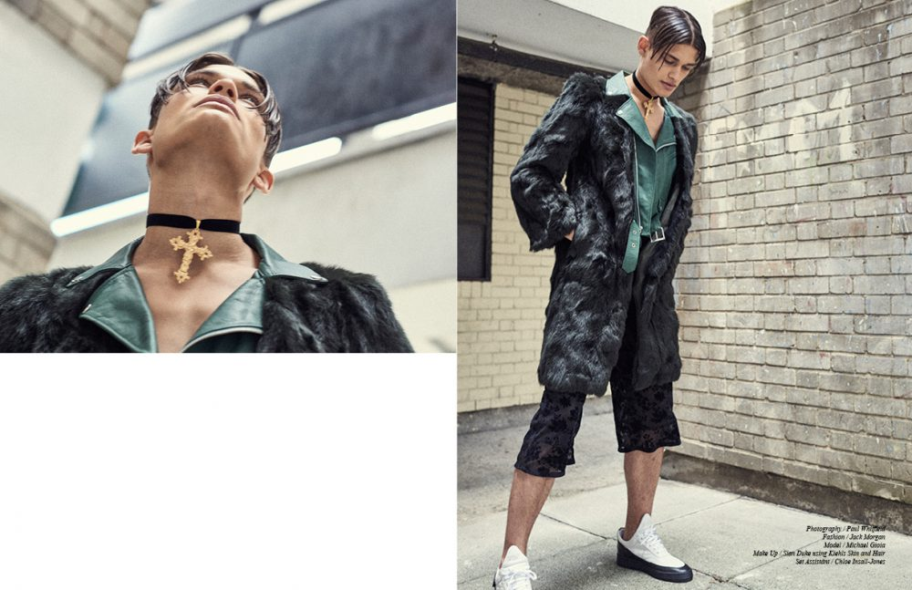 Green Leather and Faux Fur Coat / Toga Pulla Cross Choker / Baroque Opposite Black Culottes / Fun Affair Trainers (Menswear) / Filling Pieces