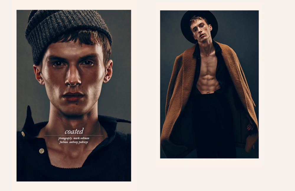 Shirt / Oliver Spencer Jumper & Hat / Billy Reid Opposite Coat & Hat / CARLOS CAMPOS Shirt / Oliver Spencer Trousers / Billy Reid