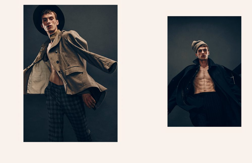 Jacket & Shirt / Billy Reid Trousers / GARCIAVELEZ Hat / CARLOS CAMPOS Opposite Jacket (1st Layer) / CARLOS CAMPOS Coat (2nd Layer) / A.P.C. Jacket (3rd Layer) / 3.1 Phillip Lim Trousers & Hat / Billy Reid