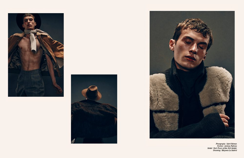 Left to right Jacket / A.P.C. x Louis W. Trousers / Billy Reid Scarf / A.P.C. Hat / CARLOS CAMPOS Jacket & Trousers / Billy Reid Hat / CARLOS CAMPOS Opposite Jumper / Belstaff Shirt / Orley
