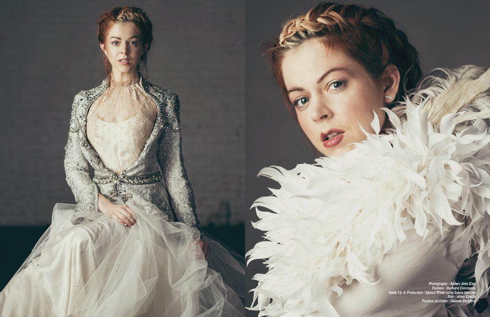 Jacket / Mac Duggal Shirt / Valentino Dress worn as skirt / Zara Umrigar Ring / Drukker Designs Opposite Feather Vest / Constantin Bodysuit / Chloe Earrings / Jude Frances