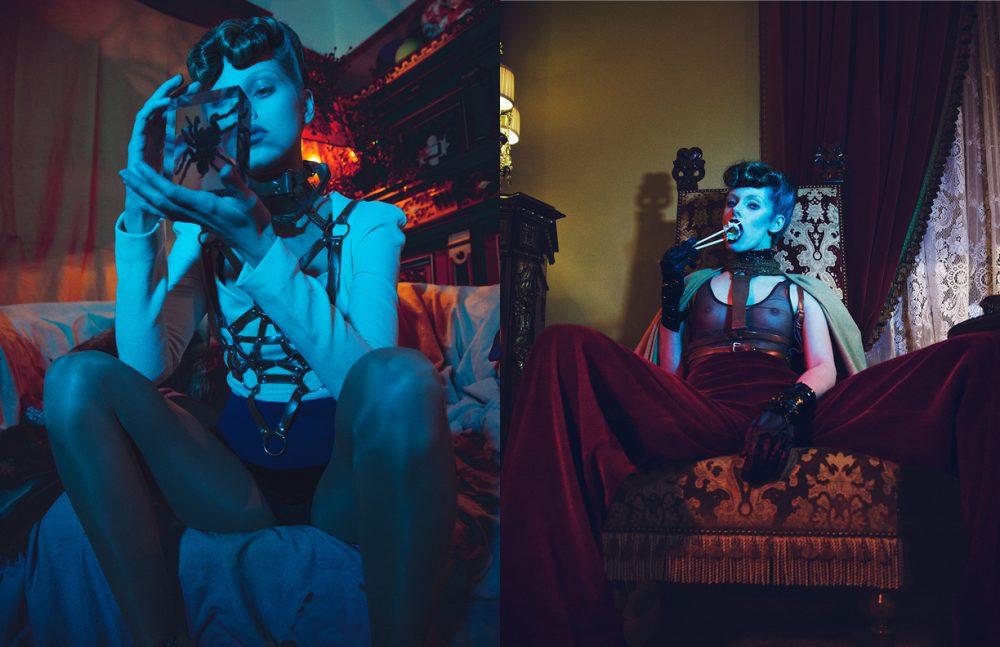 Blouse / Antonio Berandi Corset / Zana Bayne Opposite Bodysuit / Horn Harness / Zana Bayne Trousers / Constantin Line