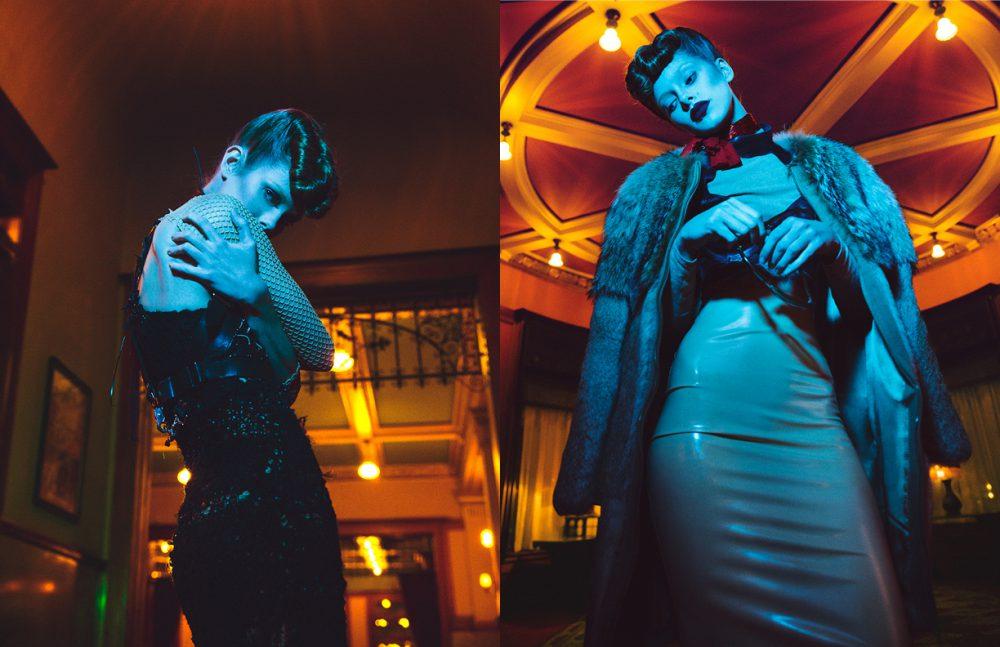 Gown / Natalia Fedner Halter / Bowenero Sleeves / Constantin Opposite Skirt & bra / Siren Coat / Jenni Kayne Sunglasses / Ray Ban Turtleneck & choker / Constantin Line Jacket / Bowenero