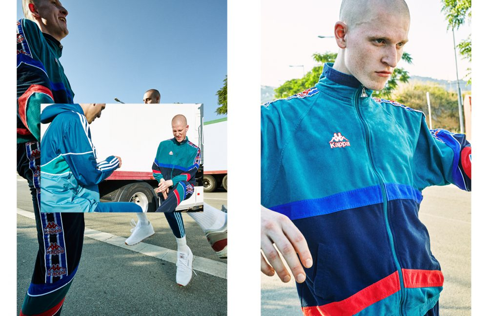 Edrien (Left) @ Model Talking wears Total Look / Adidas Sebastian (Right) @ AMCK Models London wears Tracksuit / Kappa Opposite Sebastian @ AMCK Models London wears Tracksuit / Kappa