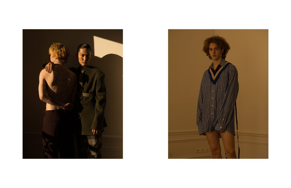 Hiroki @DIVINE wears Jacket (Worn Backwards) & Trousers / Études Studio Paul @Rockmen wears Trousers / COS Opposite Marin @Premium Models wears Shirt & Supersized Collar / Raf Simons Sets of Earrings in Silver Plated / Delphine-Charlotte Parmentier