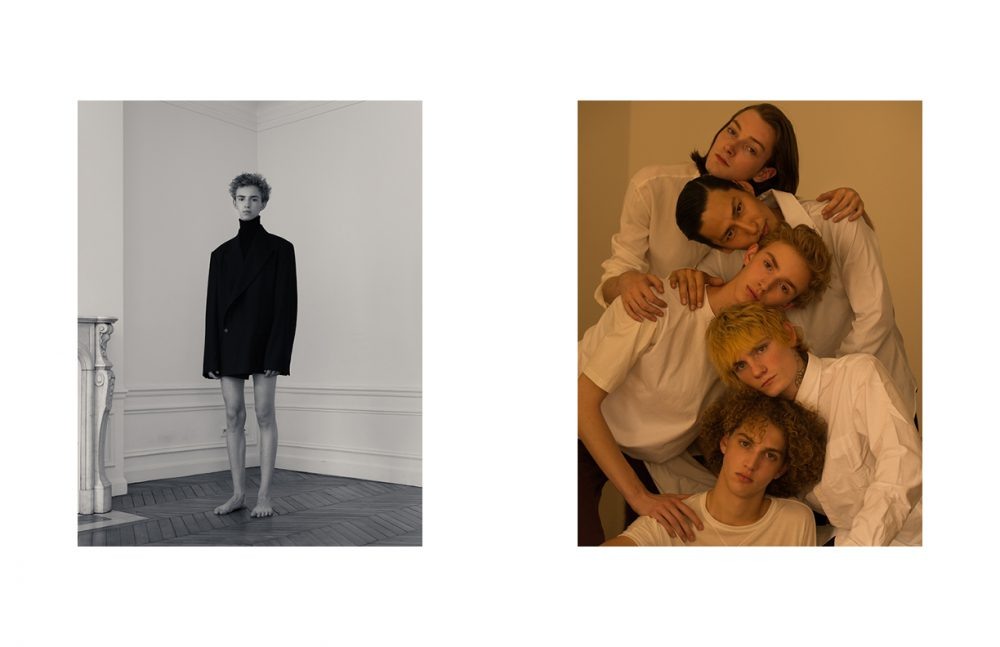 Thibault @Premium Models wears Turtleneck / COS Jacket / HED MAYNER Opposite Marin @Premium Models wears T-Shirt / Isabel Benenato Paul @Rockmen wears Shirt / UNIQLO Thibault @Premium Models wears T-Shirt / The White Briefs Trousers / COS Hiroki @DIVINE wears Shirt / agnès b Theo @Premium Models wears Shirt / Isabel Benenato