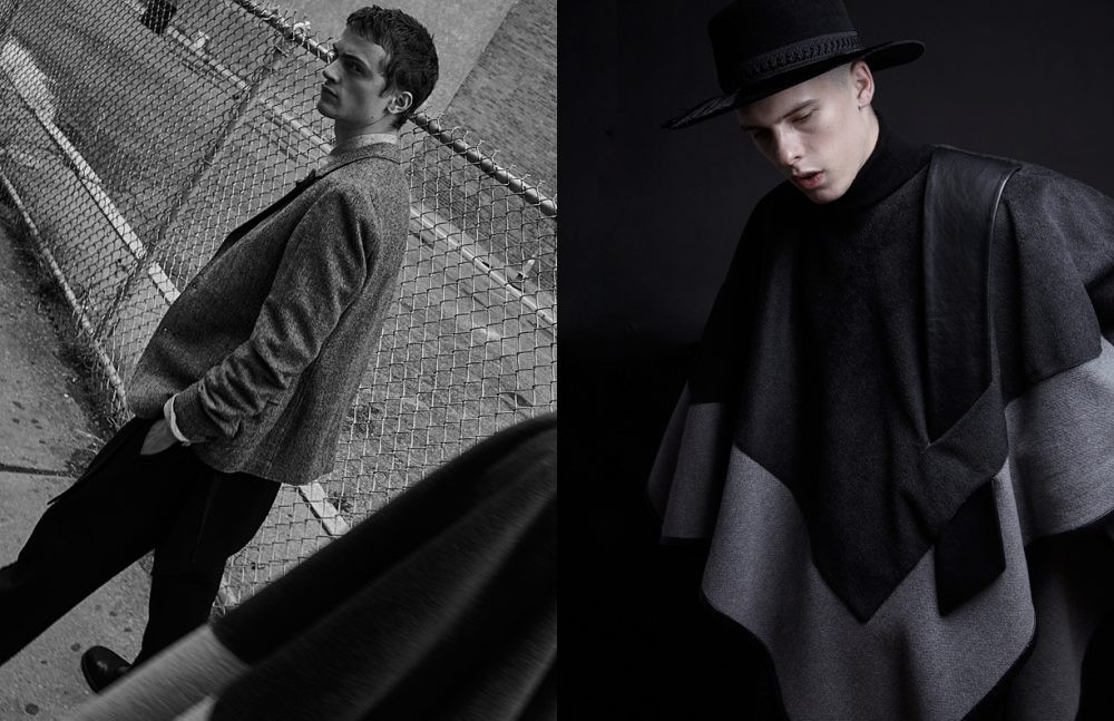 Sam @Red Models wears Blazer & Shirt / Oliver Spencer Trousers / Public School Shoes / Robert Geller Opposite August @Fusion Models wears Poncho / GARCIAVELEZ Turtleneck / Deveaux Hat / Public School
