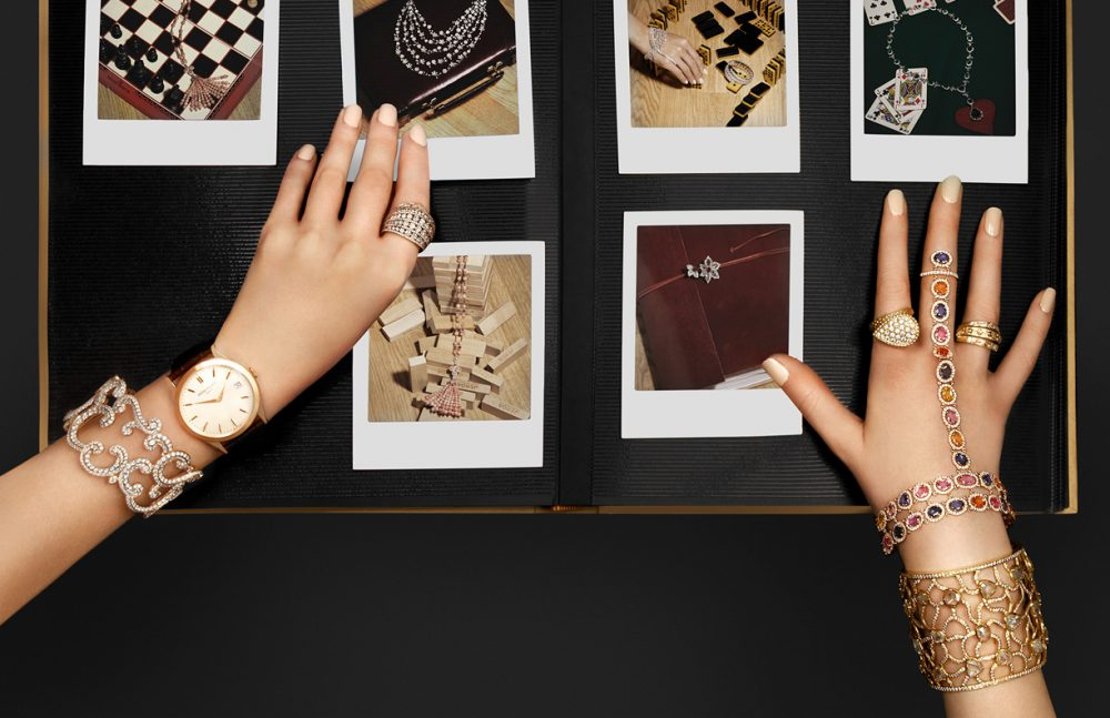 On left Ring / Adler Bracelet / Faberge Watch / Patek Philippe On right Ring to hand bracelet / Amrapali Cuff / Amrapali Ring / Boucheron Ring / De Beers Jewellery in Polaroids / David Morris