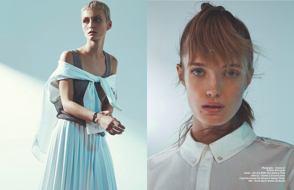 Alex wears Tank / Helmut Lang Shirt / Ralph Lauren Skirt / Olya Kosterina Watch / Lassale Opposite Ema wears Dress / Equipment