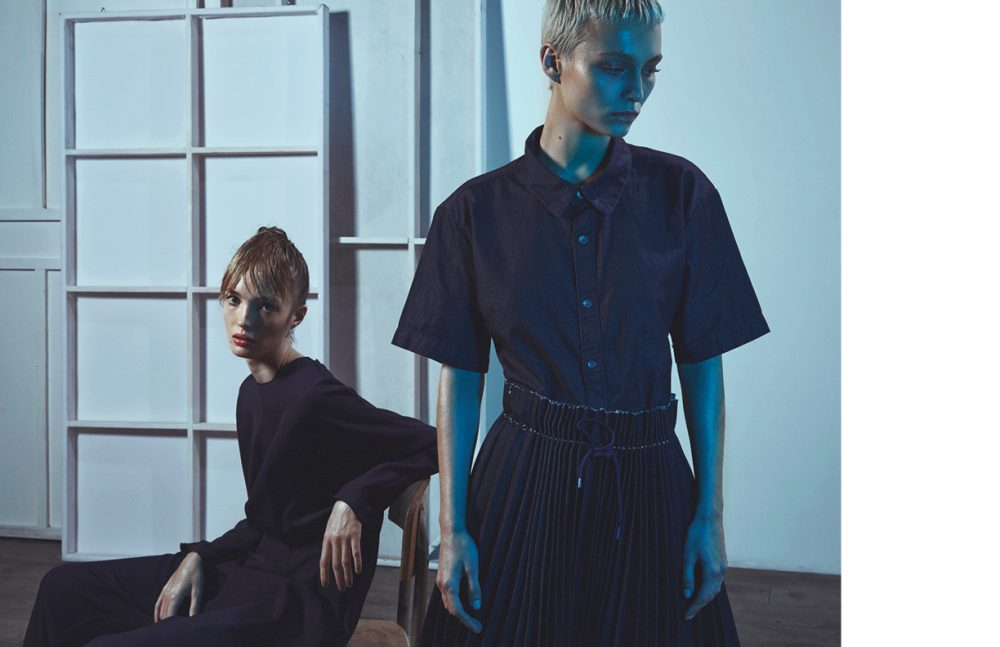 From left to right Ema wears Jumpsuit / Lanvin Alex wears Top / A.P.C. Skirt / Olya Kosterina