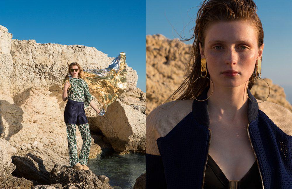 Top & trousers / Eleven Paris Shorts / Christine Phung Sunglasses / Kenzo Shoes / Robert Clergerie Opposite Jacket / Pantheone Swimwear / Thapelo Earrings / Viveka Bergström