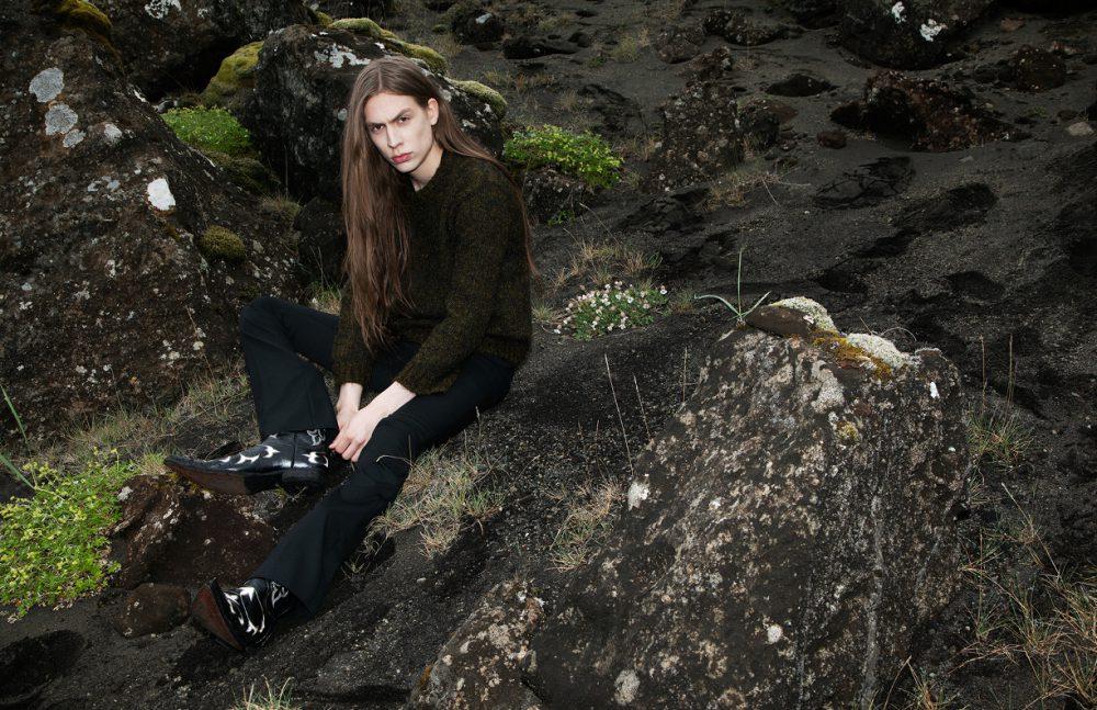 Mohair Jumper / Geysir  T-Shirt / Soulland Wool Trousers / Hildur Yeoman  Cowboy Boots / Bilbo
