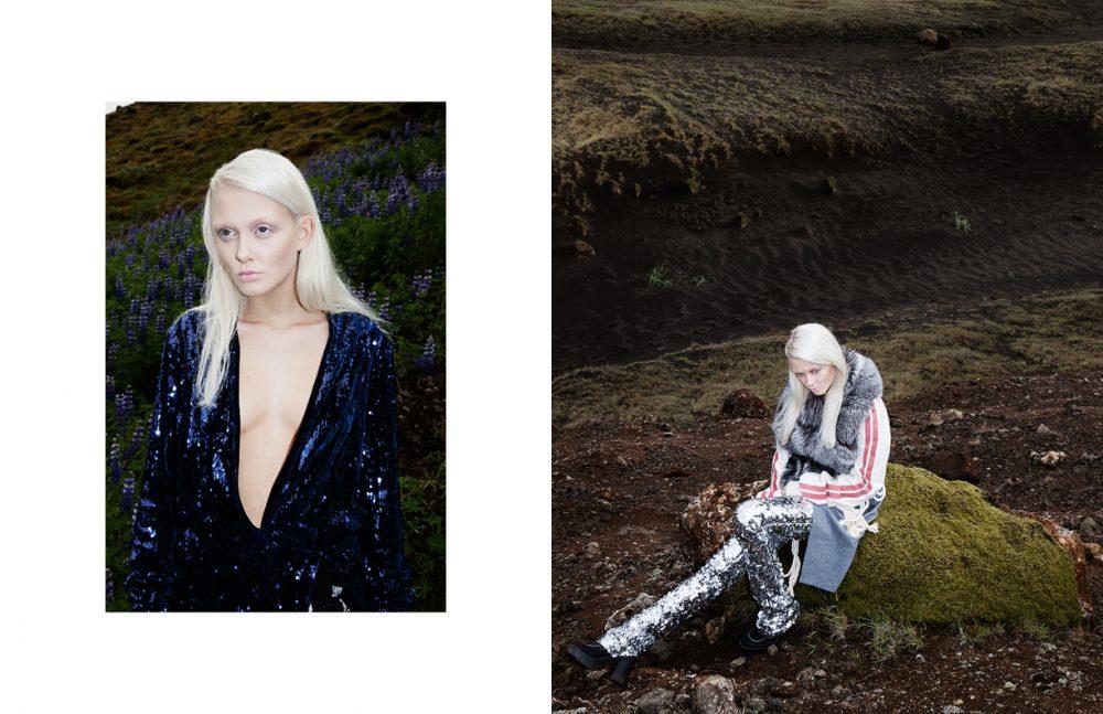 Sequin Dress / Ólöf Sigríður Jóhannsdóttir  Earring / Fashionology Opposite  Coat, T-Shirt & Trousers / Ólöf Sigríður Jóhannsdóttir  Shoes / Spúútnik
