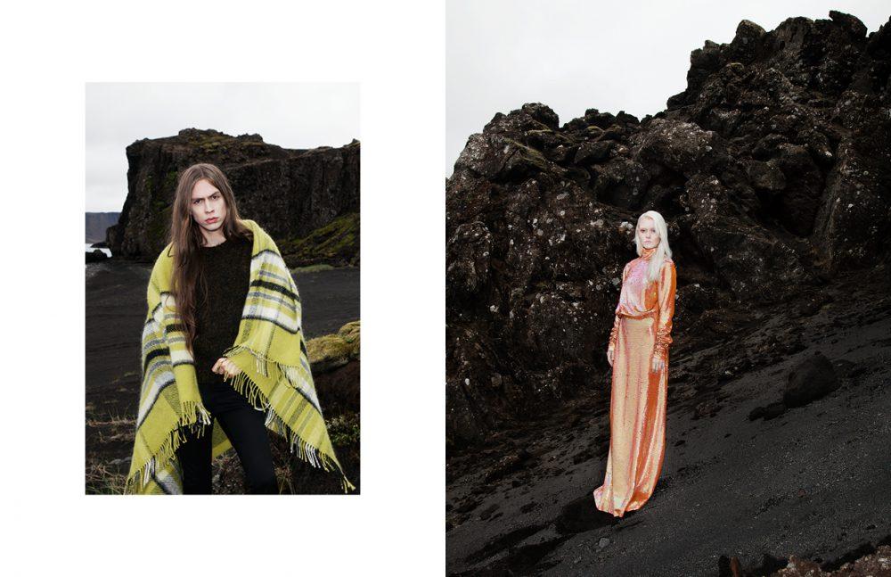 Wool Blanket & Mohair Jumper / Geysir Wool Trousers / Hildur Yeoman Opposite Sequin Dress / Ólöf Sigríður Jóhannsdóttir