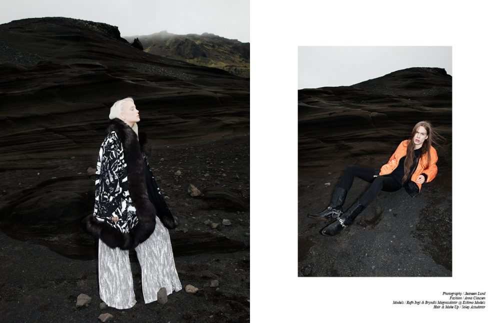 Coat / Ólöf Sigríður Jóhannsdóttir  Velvet Trousers / Hildur Yeoman Opposite Bomber Jacket / Schott T-Shirt / Wood Wood Wool Trousers / Hildur Yeoman  Cowboy Boots / Zodiac