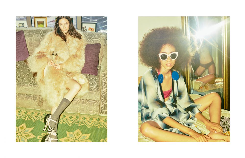 Fur Coat / LOUIS VUITTON  Socks / Hermès Shoes / Gucci Opposite Brunna wears Dress / Fendi  Bikini top / Agent Provocateur  Earrings / Elisabetta Franchi  Sunglasses / Victoria Beckham Chanel (in mirror) wears Knickers / Stylist's Own