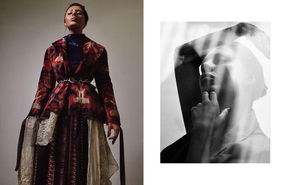 Left Blue Dress / Micol Ragni Skirt / Scotch & Soda Jacket / Dilara Findikoglu Belt / McQ by Alexander McQueen Right Dress / Marta Jakubowski