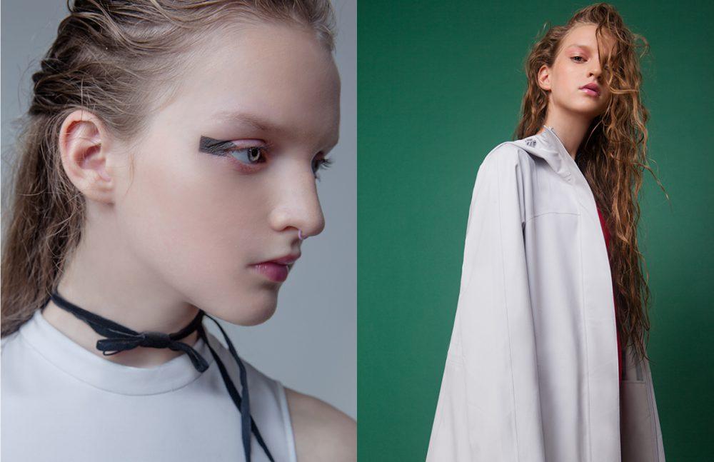 Dress / ZARA  Choker / Magia Di Gamma  Opposite Swimsuit / ASOS  Parka / UNIQLO