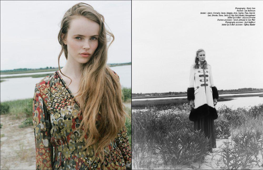 Dress / Zadig & Voltaire Opposite Coat / Ermanno Scervino  Skirt / Antonio Marras  Scarf / Chan Luu Boots / Etienne Aigner