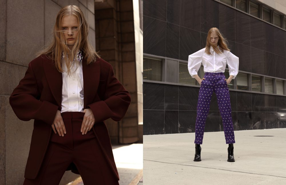 Shirt / KENZO  Blazer & trousers / JOSEPH Opposite Shirt / Delpozo  Trousers & boots / Carven