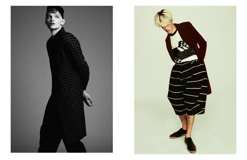 Cap & jacket / Han Kjøbenhavn  Shirt / SAND Copenhagen  Trousers / Henrik Vibskov Opposite Jumper / TRINE LINDEGAARD  Trousers / Henrik Vibskov  Coat / SAND Copenhagen  Brogue / Prada