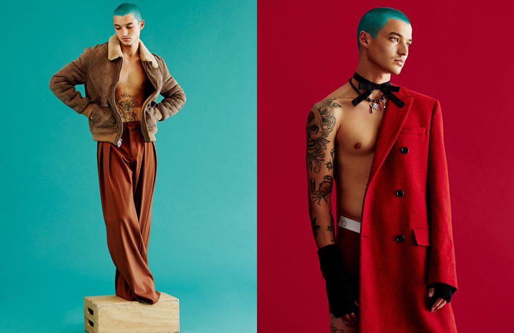 Jacket / 3.1 Phillip Lim  Trousers / Off-White Opposite Coat, bowtie, necklace & gloves / Dior Homme  Underwear / Model's Own