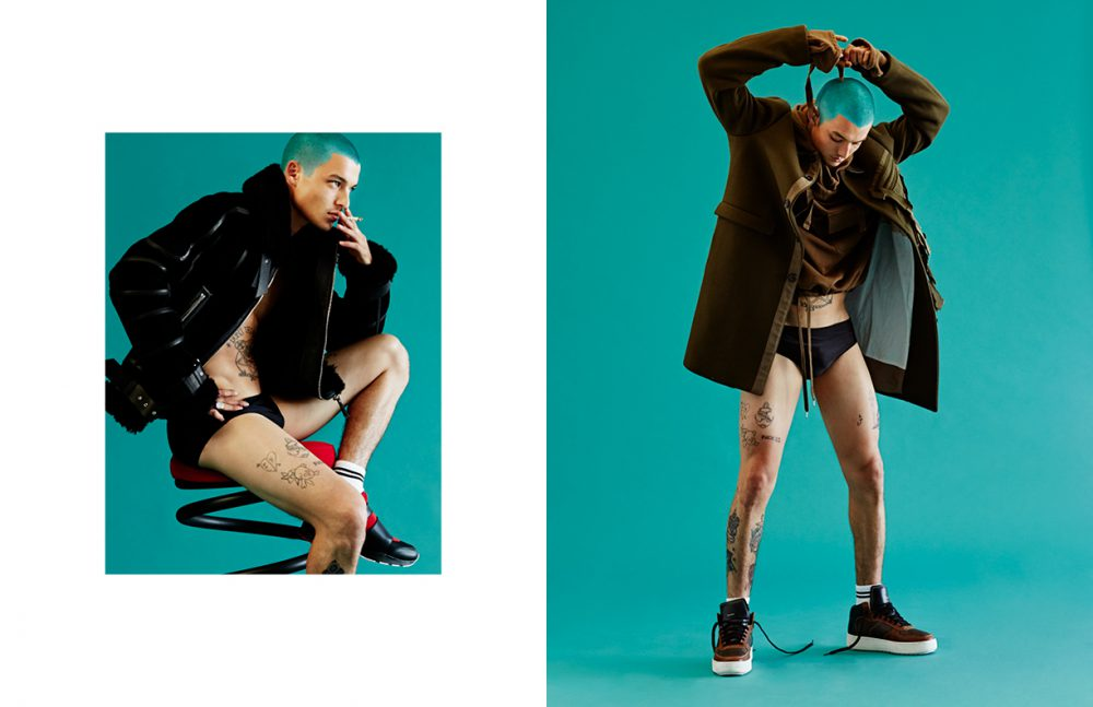 Jacket / Versace Swim briefs / American Apparel  Socks / Topman Shoes / Dior Homme Opposite  Coat & jumper / No21  Swim briefs / American Apparel  Socks / Topman  Trainers / COACH 1941
