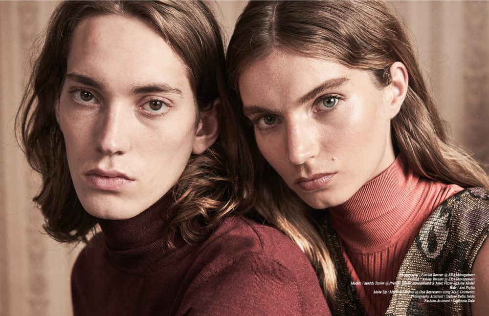 Mees wears Turtleneck / Hugo Boss Maddy wears  Turtleneck Top / Christian Wijnants Dress / Nathalie Vleeschouwer