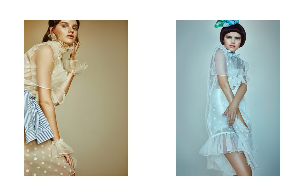 Dress & cuffs / Nadia Sultana Shirt / Stylist's Own  Opposite Headpiece / Laura Apsit Livens Dress / Nadia Sultana