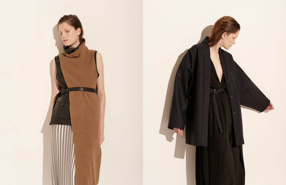 Top / MTWTFSS Weekday  Leather top / Won Hundred  Skirt / Avelon Opposite Coat / & Other Stories  Blouse / Diesel Black Gold  Trousers / Jil Sander