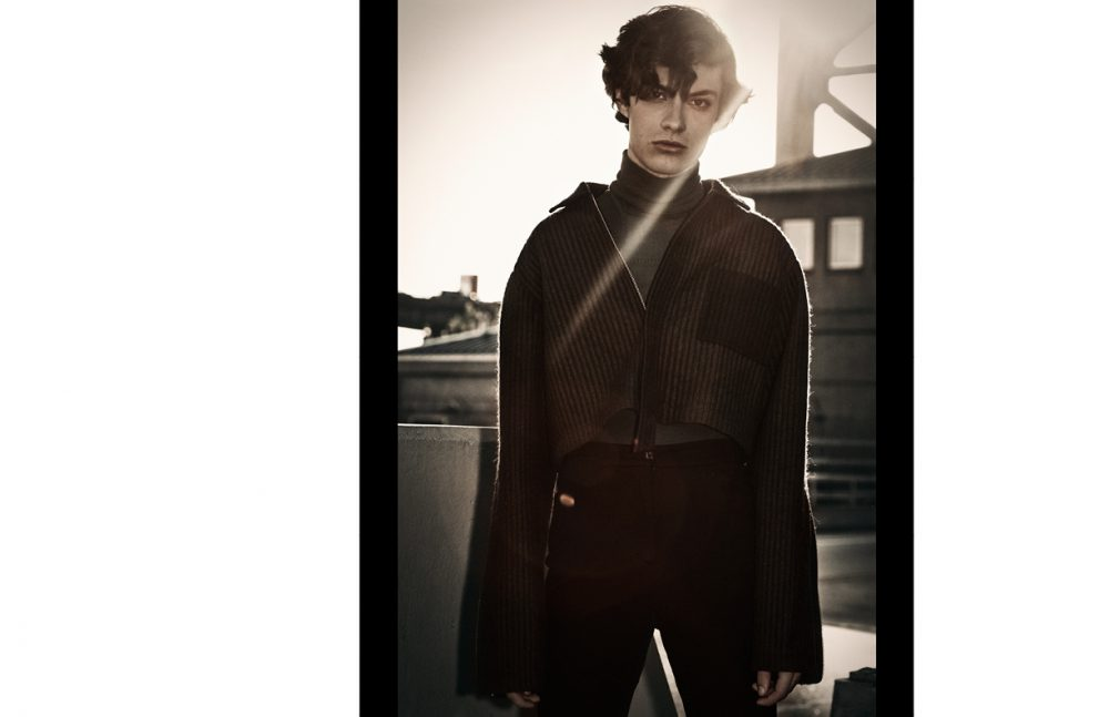 Jack @ Ford Models wears Rollneck / Teatum Jones Jacket / Woodhouse Trousers / M Missoni