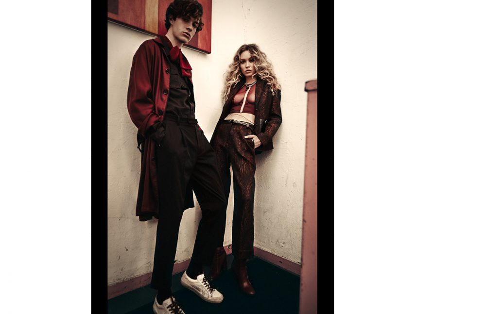 Jack @ Ford Models wears Shirt, Bathrobe & Trousers / 3.1 Phillip Lim Blouse / Julianna Bass Trainers / Saint Laurent Viki @ Major Models wears Jacket & Trousers / 3.1 Phillip Lim Top / Chromat Boots / Laurence Dacade Necklace / Saint Laurent
