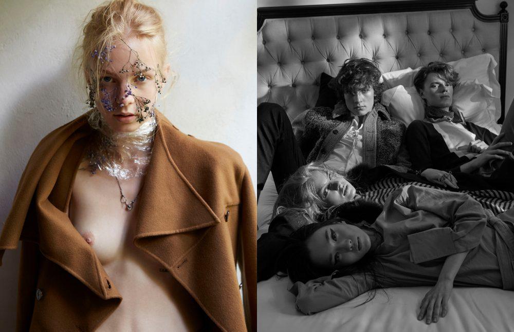 Coat / Dior Necklace / Missile Opposite  Pat (bottom) @ Kiss Models Thailand wears Look / Céline Poly (lying next to Pat) @ WM Thailand wears Coat & Dress / Fendi Ring / Lanvin Armin (top left) @ WM Thailand wears Look / Prada Bogdan (top right) @ Clio Thailand wears Look / Hermès