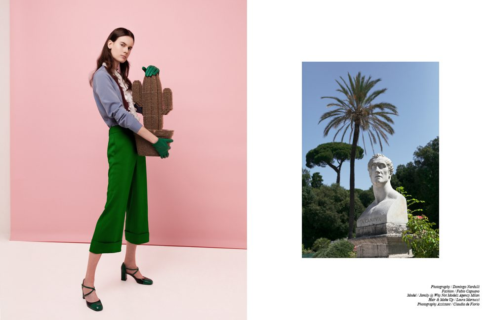 Shirt / Beatrice B Trousers / PARAKIAN PARIS  Gloves & shoes / ANTEPRIMA Opposite Opera Bust of Antonio canova by Luigi Bellica - 1871