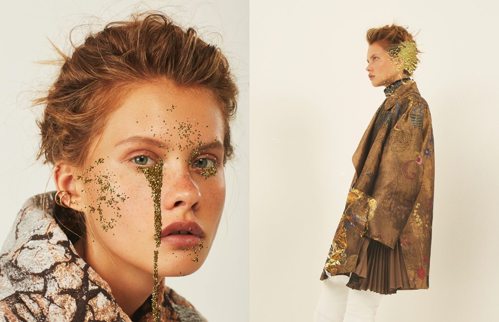 Earrings / Saskia Diez  Coat / Alberta Ferretti Opposite Earring / Saskia Diez  Choker / Drôme  Body / Véronique Leroy  Coat & Gaiters / Fendi