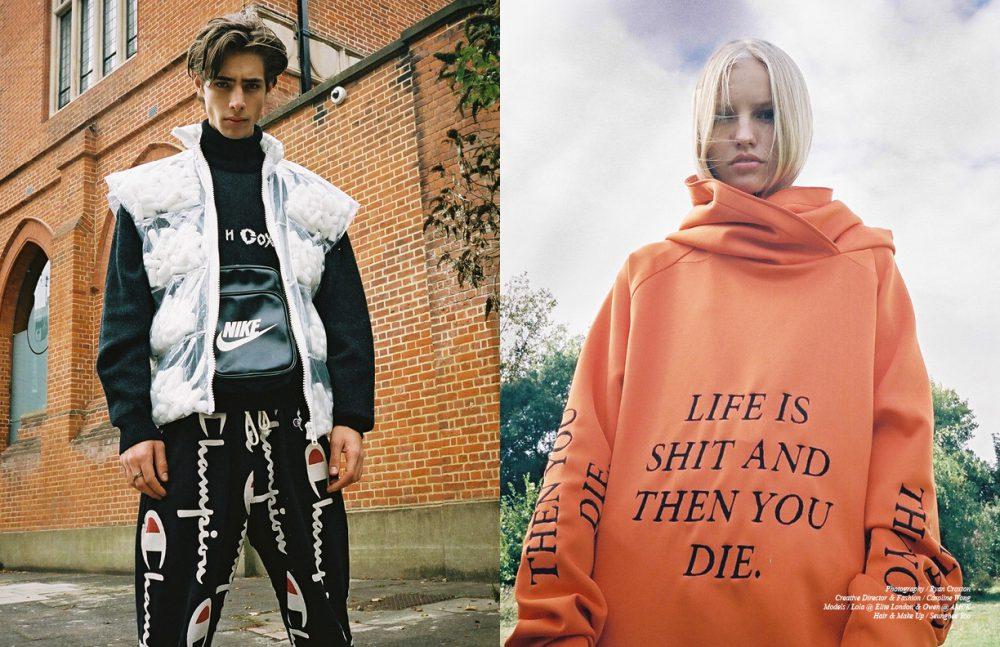 Jumper / Gosha Rubchinskiy Gilet / Alexandra Hackett Bag / Stylist's Own Trackpants / Champion Opposite  Hoodie / Paria Farzaneh
